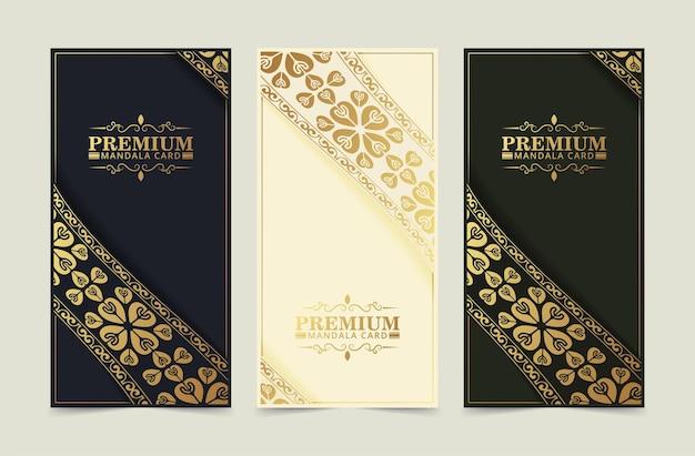 Banner vertical vintage de luxo com motivo de borda
