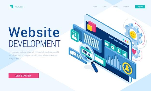 Banner vetorial de desenvolvimento de site