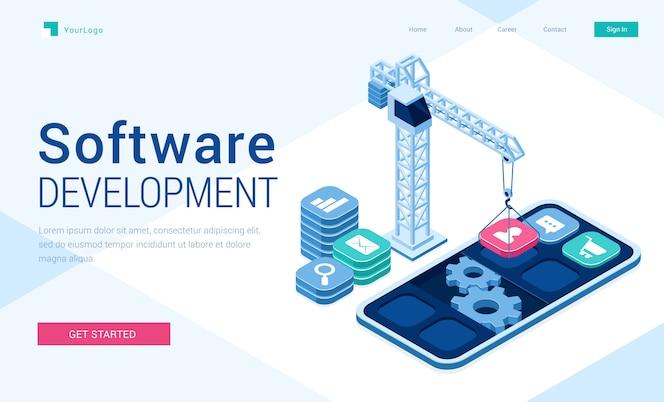 Banner vetorial de desenvolvimento de software