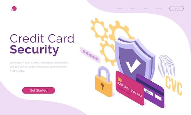 Banner vetorial de segurança de cartão de crédito