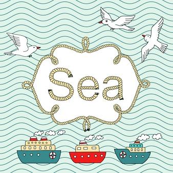 Banner vintage de mar com lugar para o seu texto. papéis de parede retrô