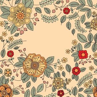 Banner vintage floral com lugar para o seu texto.