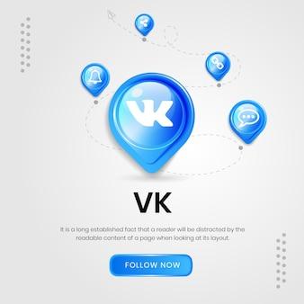 Banner vk de ícones de mídia social