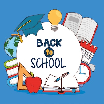 Banner volta à escola, com conjunto de materiais educacionais
