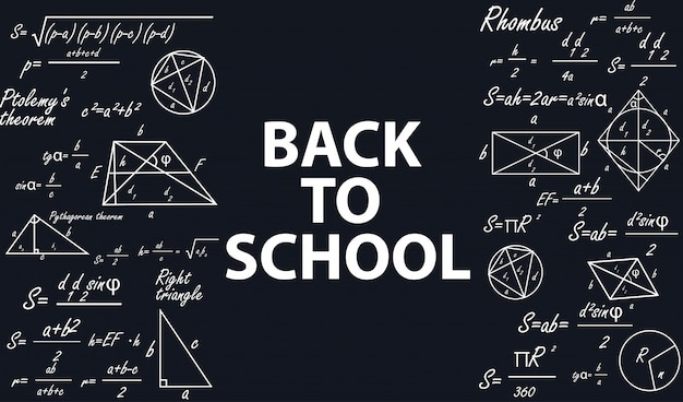 Banner volta para a escola com figuras geométricas.