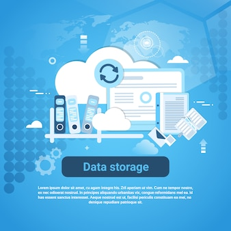 Banner web de armazenamento de dados com espaço de cópia