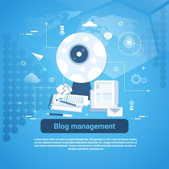 Banner web de gerenciamento de blogs com espaço para texto