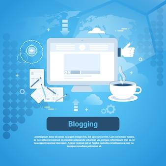 Banner web de gestão de blogging com espaço de cópia