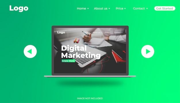 Banner web de marketing digital com design realista de laptop