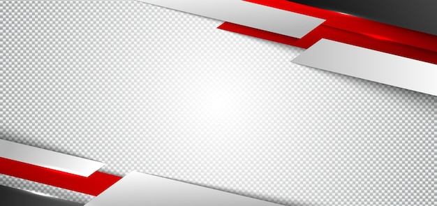 Banner web design vermelho e branco geométrico fundo branco