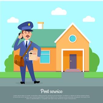 Banner web do serviço de postagem. courier entrega pacote