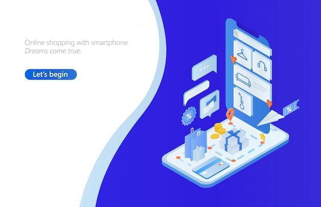 Banner web horizontal com smartphone isométrico, sacolas e caixas, dinheiro, cartão de crédito.