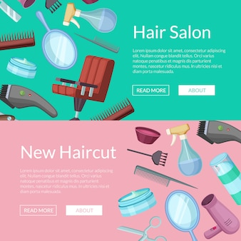 Banner web horizontal definido com elementos de desenhos animados do barbeiro cabeleireiro