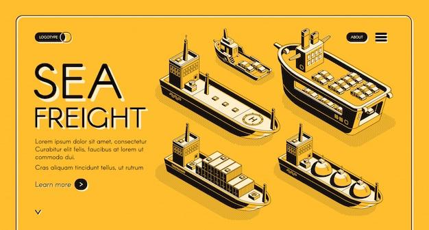 Banner web isométrica de transporte de frete marítimo com petroleiro, transportadora de gnl, carga roro