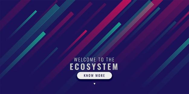 Banner web moderna com efeito de linhas de cor