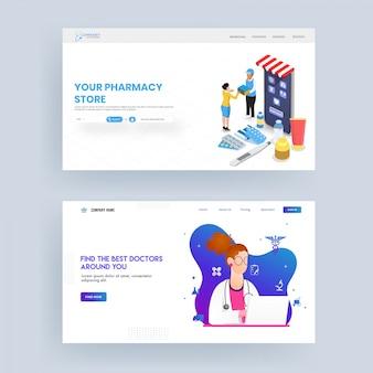 Banner web responsivo ou design da página de destino para a loja de farmácia e o melhor médico.