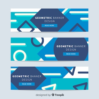Banners abstratas com formas geométricas