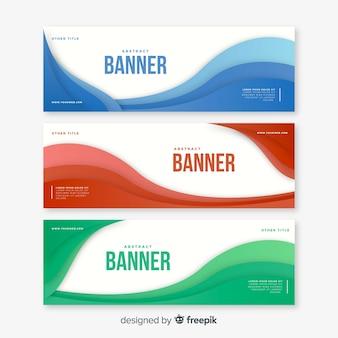 Banners abstratas com formas onduladas