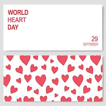 Banners abstratas para o dia mundial do coração 29 de setembro