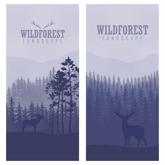 Banners abstratas verticais de veado selvagem na floresta com troncos de árvores