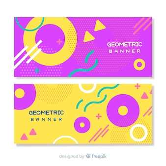 Banners abstratos coloridos com formas geométricas