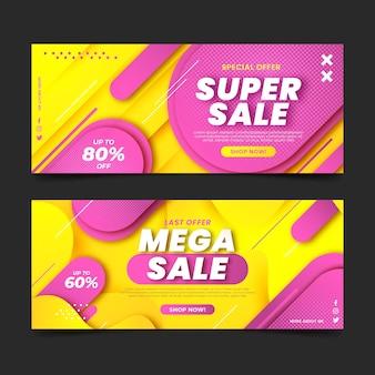 Banners abstratos de super venda com desconto