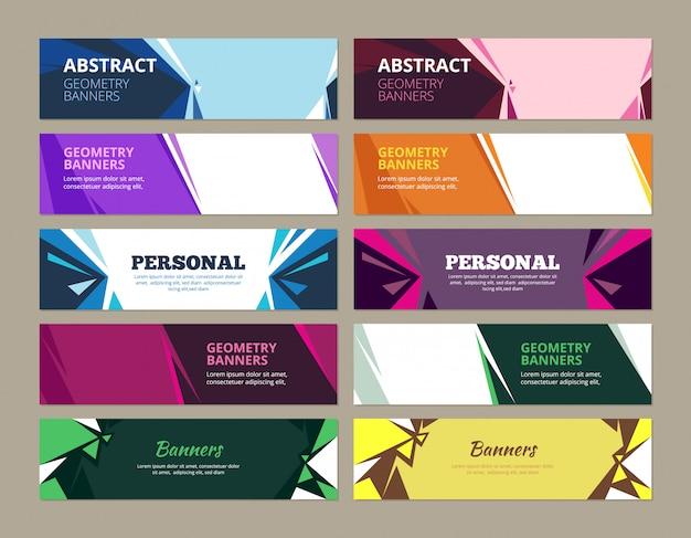 Banners abstratos. formulários de modelos gráficos de efeitos geométricos para banners horizontais web coloridos com lugar para texto