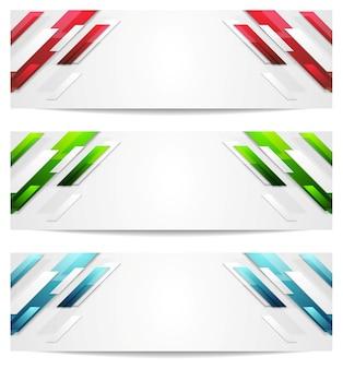 Banners abstratos geométricos de alta tecnologia. desenho vetorial