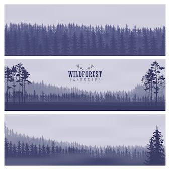 Banners abstratos horizontais das colinas de madeira de coníferas em tom azul escuro