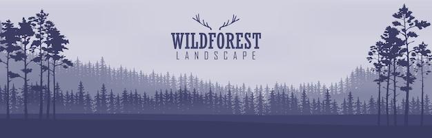 Banners abstratos horizontais de colinas de madeira de coníferas em tom de azul escuro.
