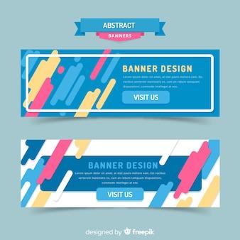 Banners abstratos modernos com design plano