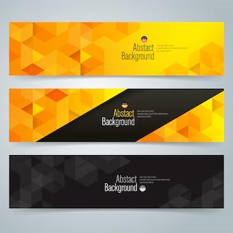 Banners abstratos pretos e amarelos