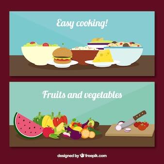 Banners achatado com diferentes tipos de alimentos
