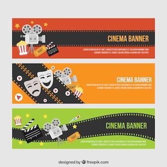 Banners agradáveis cinema com elementos de filme