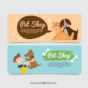 Banners agradáveis com animais