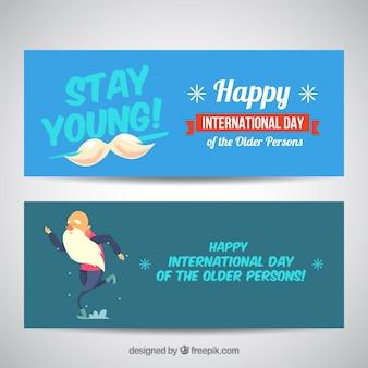 Banners agradáveis das pessoas idosas dia internacional