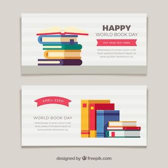 Banners agradáveis livro em design plano