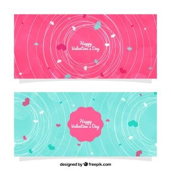 Banners aguarela com cabos decorativos para dia dos namorados