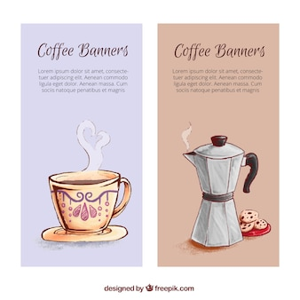 Banners aguarela com copo e máquina de café