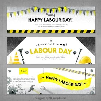 Banners aguarela com ferramentas para o dia de trabalho