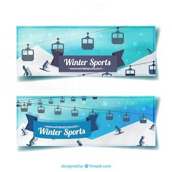 Banners aguarela com teleféricos e esquiadores