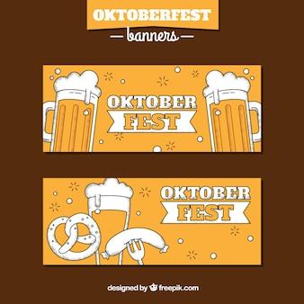 Banners amarelos do mais oktoberfest