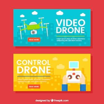 Banners amarelos e azuis com drones