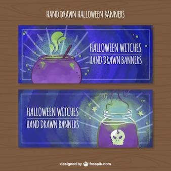 Banners aquarela conjunto de feitiços