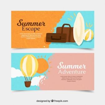 Banners aventura de verão pintados à mão