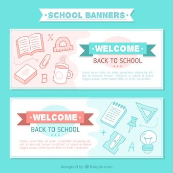 Banners bonitas com desenhos de material escolar