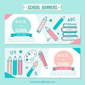 Banners bonitas de volta à escola com mão tirada lápis
