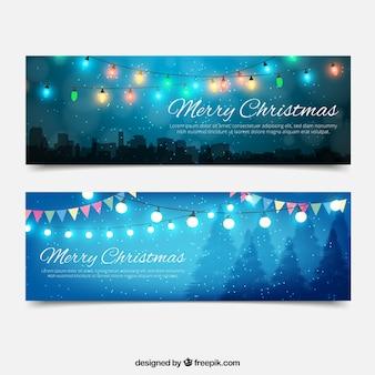 Banners bonitos com luzes de natal