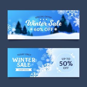 Banners borrados de liquidação de inverno