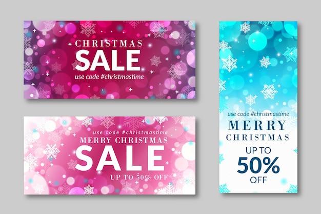Banners borrados de venda de natal